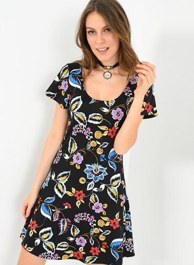 Mavi Çiçekli Kloş Elbise-Ola